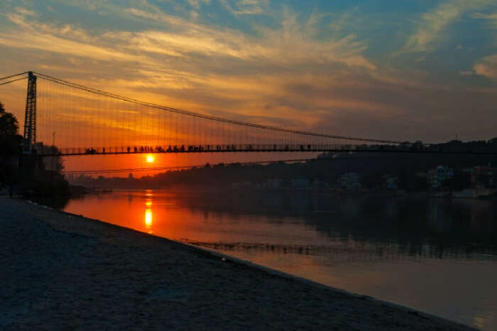 Sunset at Ram Jhula in Haridwar by the Ganges