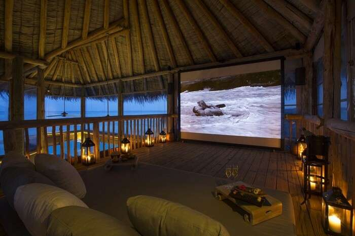 Jungle cinema at Gili Lankanfushi is a key attraction of nightlife in Maldives