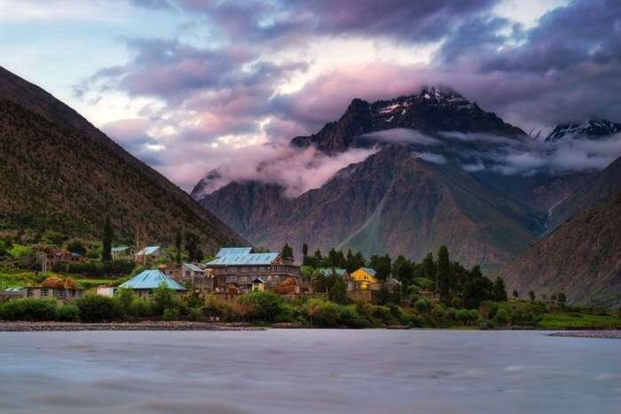 Jispa- Bhag river in Lahaul valley at sunset