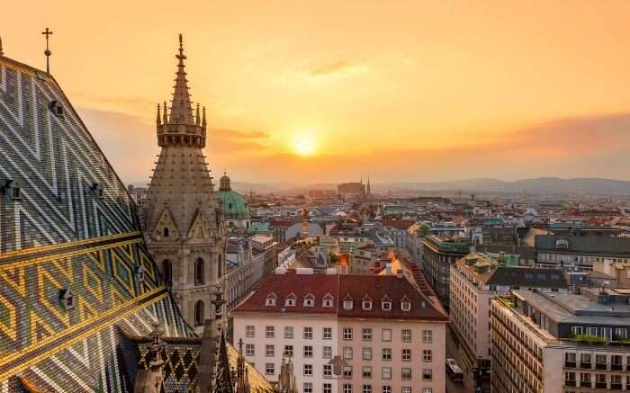 Sunrise in Vienna, one of the best honeymoon destinations in Europe in Winter