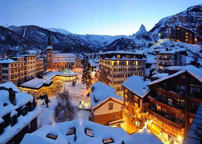 The beautiful town of Zermatt lit up in the evening