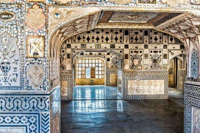 The glittering interiors of Amber Fort are a sight to behold