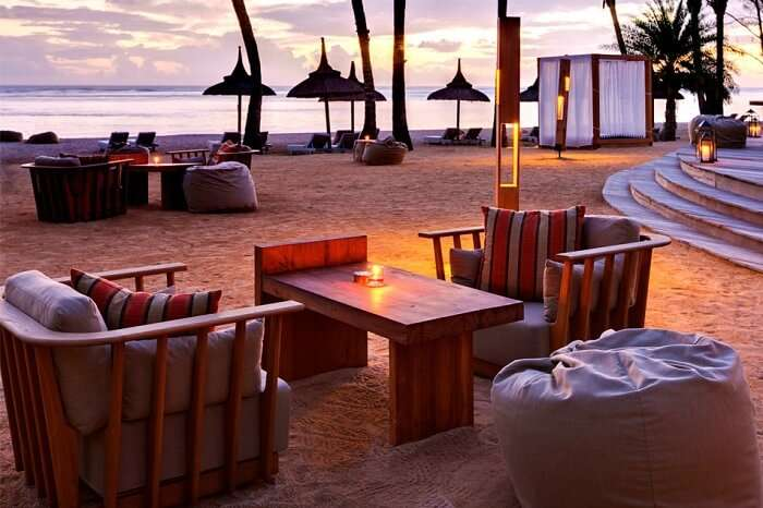 A sunset shot of the Bar Bleu at the Outrigger resort that is one of the best resorts in Mauritius