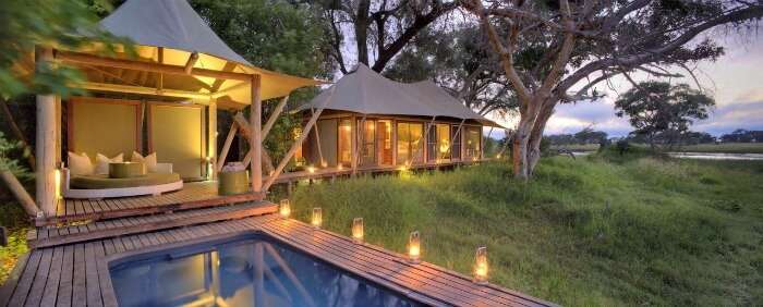 Outdoor shack at Beyond Xaranna Okavango Delta Camp