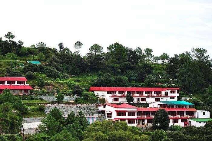 The famous Blue Pine Resort surrounded by blue pine and oak trees