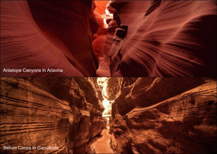 comparison between Arizona's Antelope Canyons and Gandikota's Belum Caves