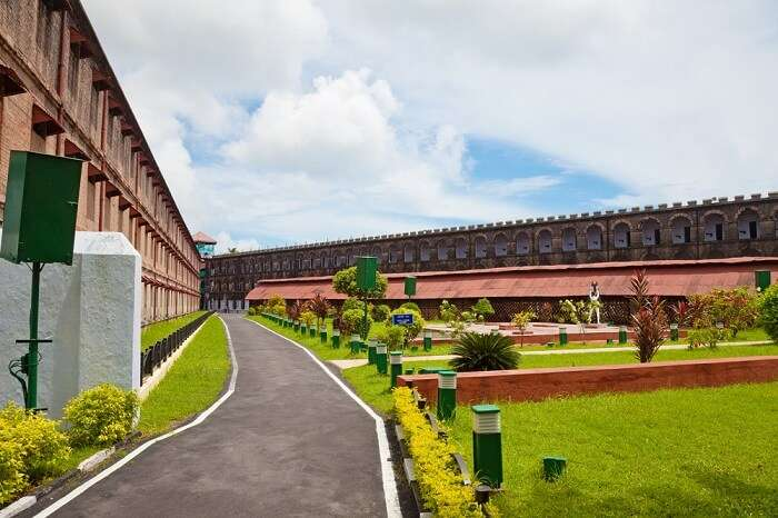 A beautiful shot of the lawn and the jail building at the Cellular Jail in Port Blair
