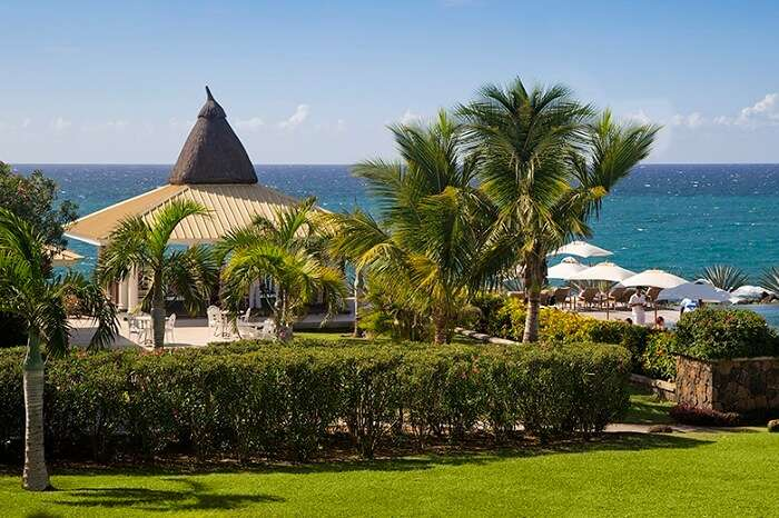 A scenic shot of the Club Med and the sea in Mauritius