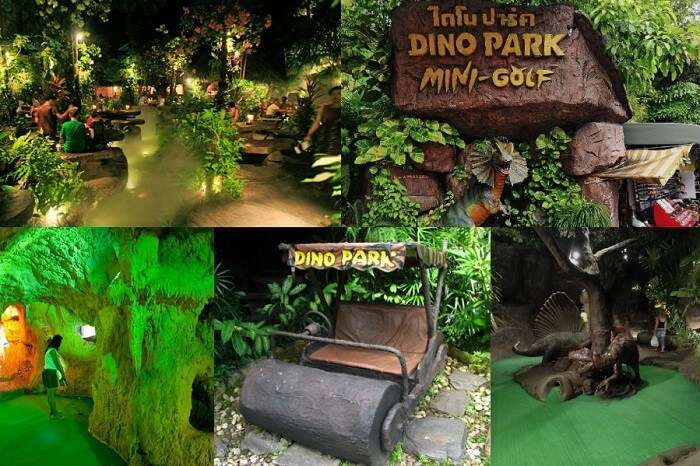 The various areas at the Dino Park Mini Golf Course in Phuket