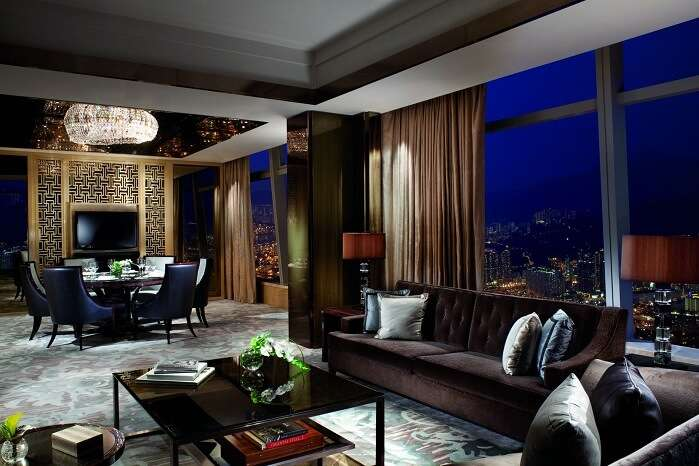 One of the guest rooms of the Ritz Carlton hotel in Hong Kong
