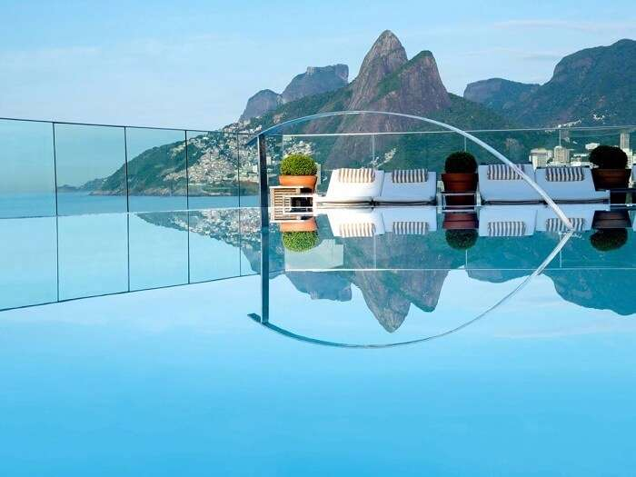 Amazing view of hills from pool in Hotel Fasano, Rio de Janeiro, Brazil