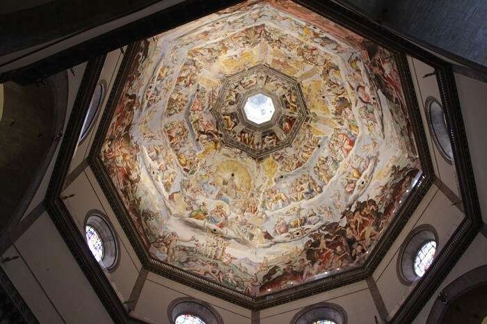 Beautiful artwork inside the dome in Florence Catherdral