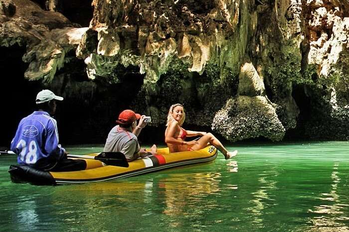 A couple on a canoeing tour in Phang Nga Bay in Phuket