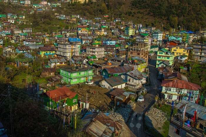 An aerial view of the Lachen city in Sikkim that is one of the best places to visit in September in India
