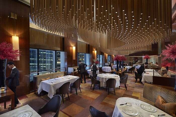 The Amber restaurant at the Landmark hotel in Hong Kong