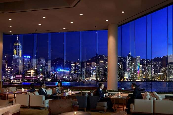 Guests relaxing at a lounge in the Intercontinental hotel in Hong Kong