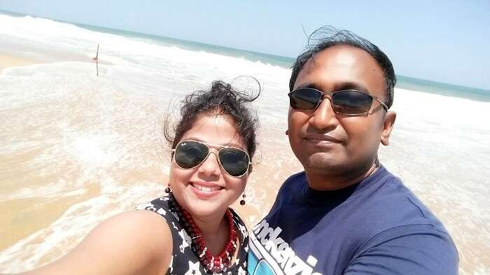 Suvankar and his wife at the Poovar beach in Kerala