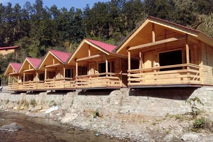The wooden cottages of the riverside Rio Resort in Lansdowne