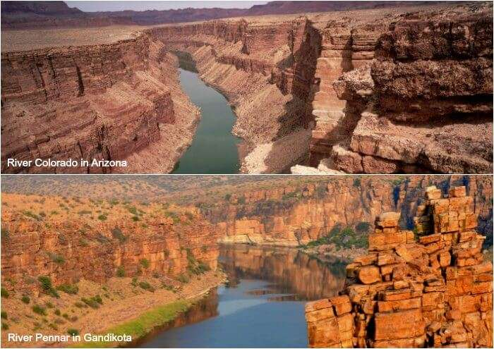 comparison between the Pennar river of Gandikota and River Colorado of Arizona