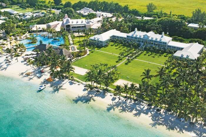 An aerial shot of the Sugar beach resort and spa in Mauritius