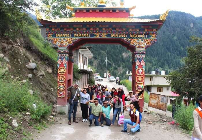 Group celebrating Independence Day with policemen in Chitkul