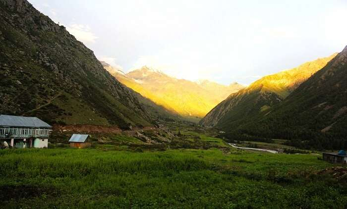 Beautiful sunset in the hills of Sangla