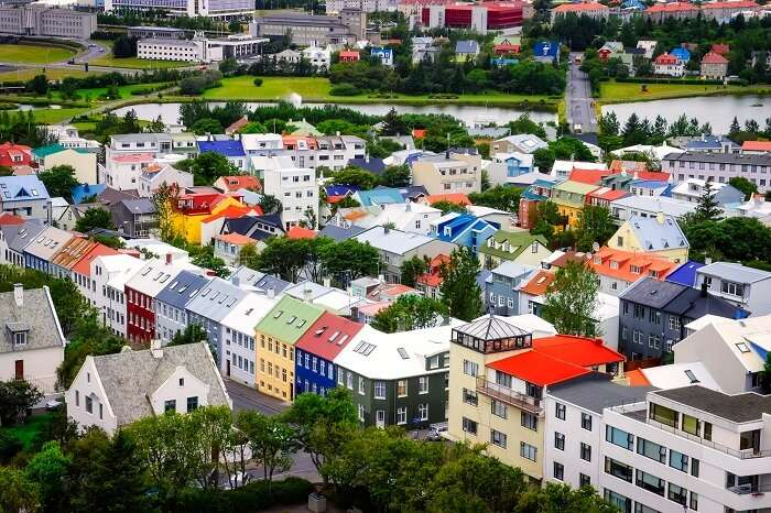 Aerial view of colorful houses in the Reykjavik city