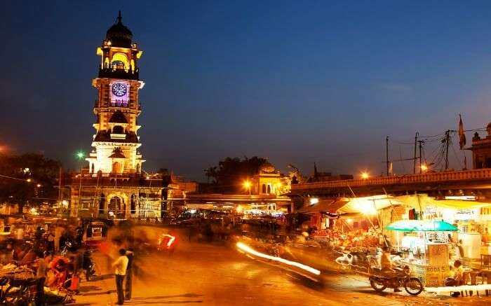 Hustle bustle in Clock Tower Market Jodhpur at night