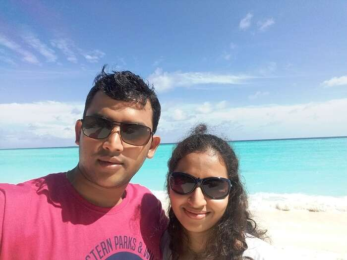 Karthi and his wife at the Sun Island Resort in Maldives