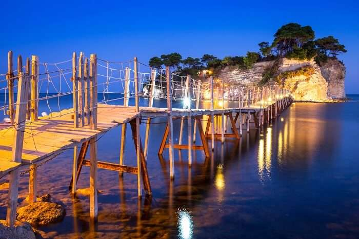 A snap of the hanging bridge to the island at night on the Zakhynthos island in Greece