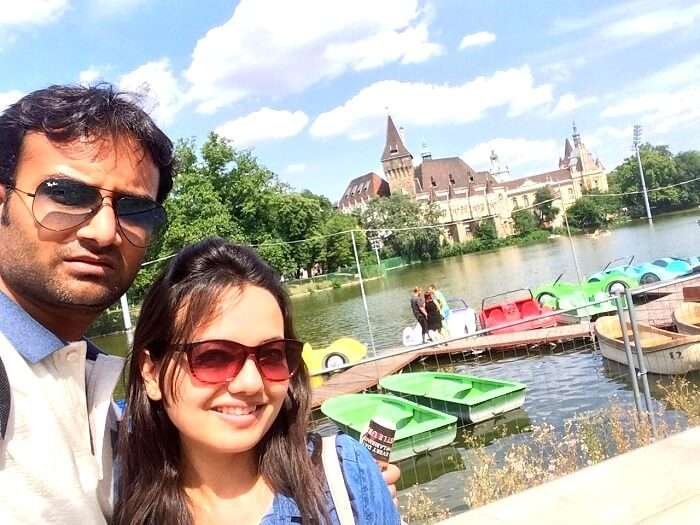 Ankit and his wife on a sunny day