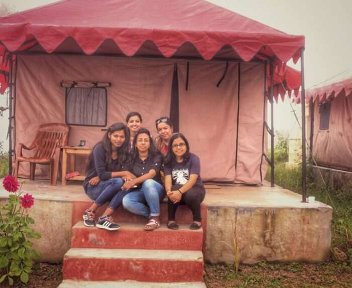 Kanika and her friends at their hotel in chakrata