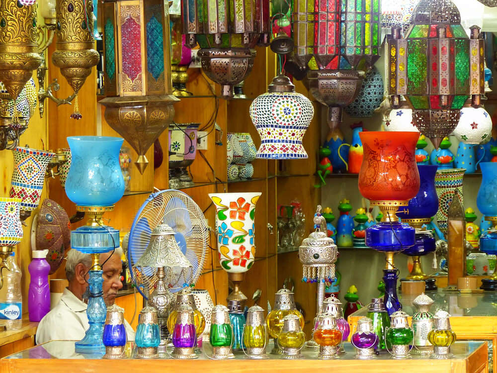 Colorful lamps in Johari Bazar