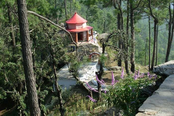 A shot of the Kasar Devi Temple at the Cranks Ridge in Uttarakhand
