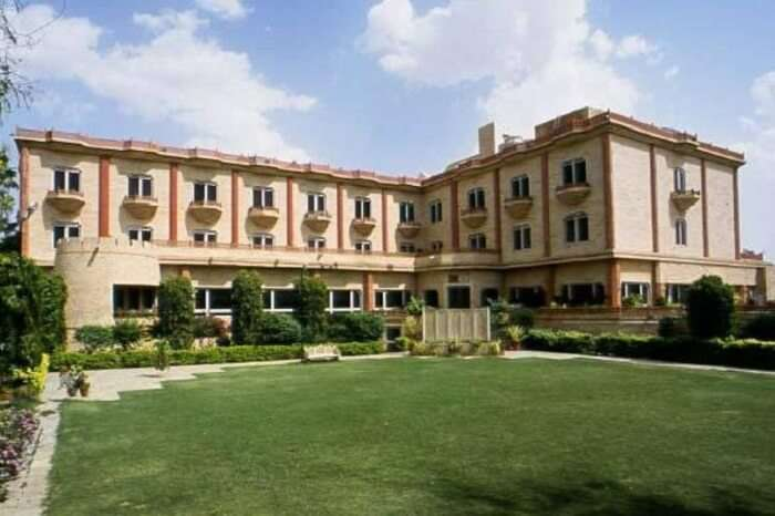 Plush lawn and exteriors of the Mansingh Palace in Ajmer