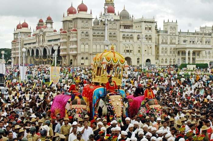 Locals gather for the elephant rally during the Mysore Dussehra festival