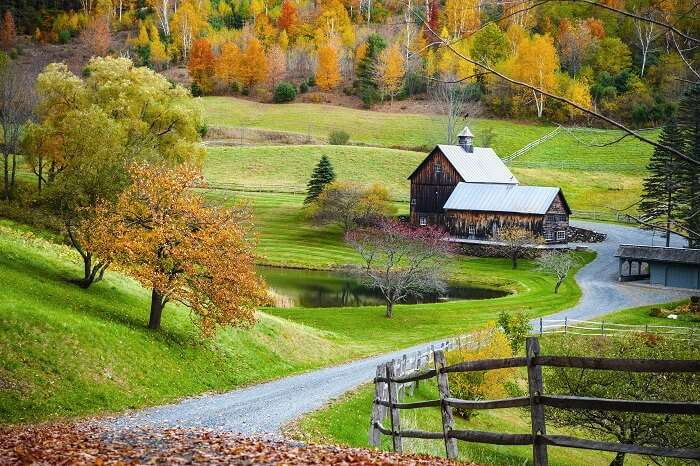 Old wooden barn surrounded by colorful trees at Woodstock in Vermont