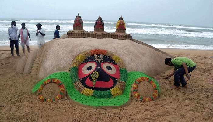 A sand art displayed during the Puri Beach Festival