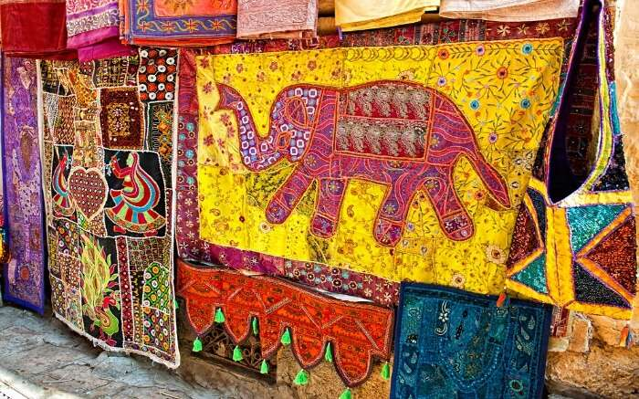 Colorful handicraft in Sadar Bazar Jaisalmer
