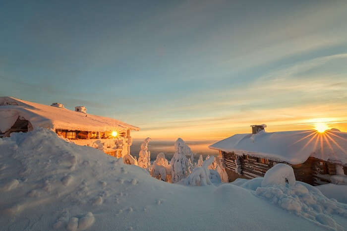 Sunset view at Lapland in Finland