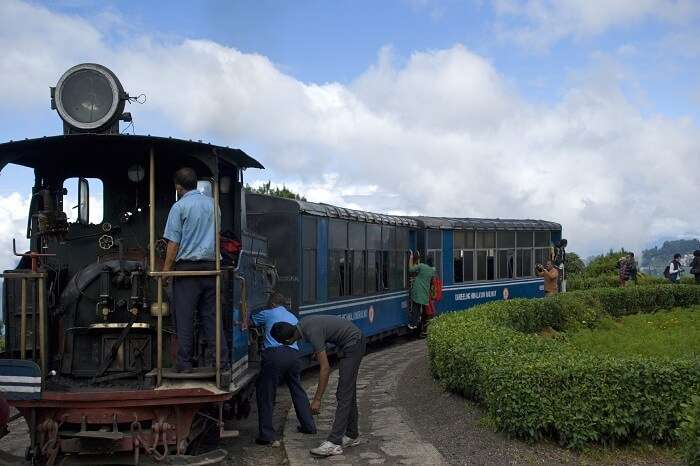 The British-built famous mountain Toy Train at the Batasia Loop in Darjeeling