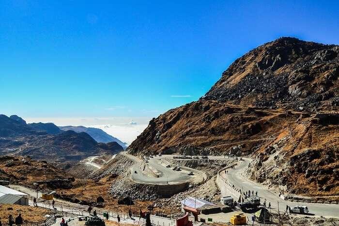 The zig-zag roads of Nathula Pass in Sikkim