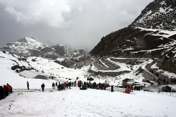 Tourists walking down towards the Indo-China border at Nathula Pass