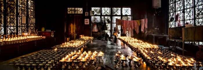 Prayer candles at Tsuglagkhang: the temple inside the Dalai Lama compound