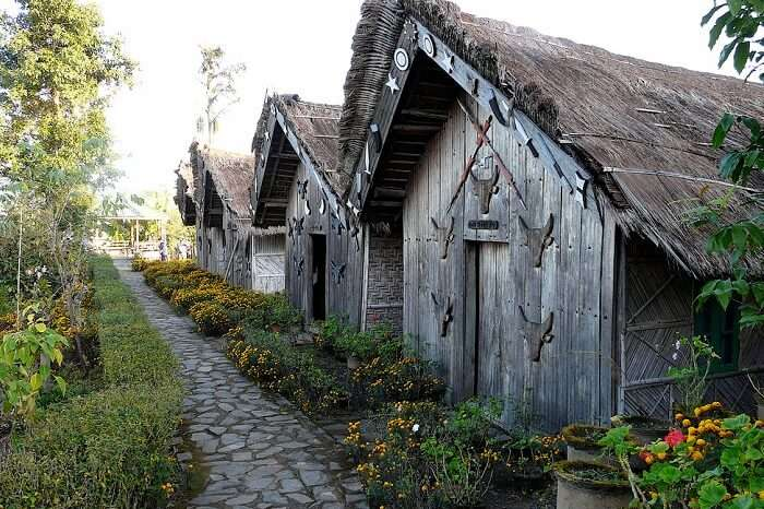 Identical homes in the tourist village of Touphema in Nagaland