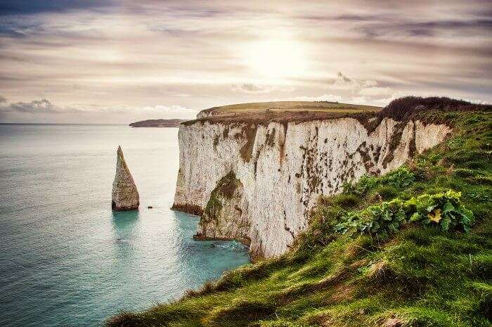 The white cliffs of Kingsgate Beach in UK