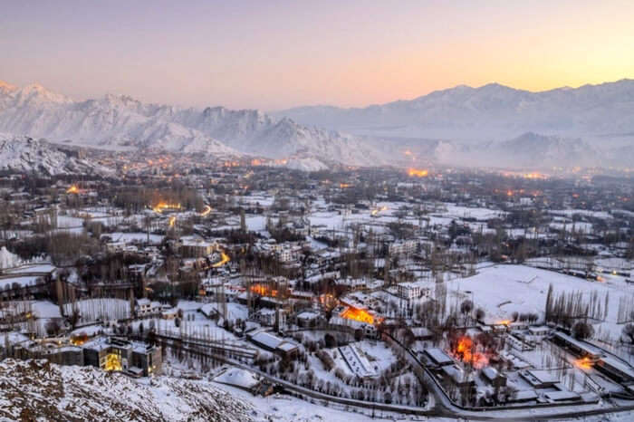 Leh city covered in a sheet of snow