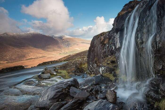 Waterfall on The Connor Pass at the Dingle Peninsula