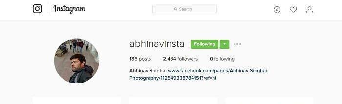 Abhinavs instagram page