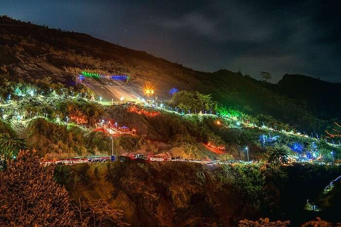 A beautifully lit hill-road in Aizawl in Mizoram